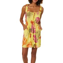 Be Bop Juniors Palm Print Cinched Waist Sundress