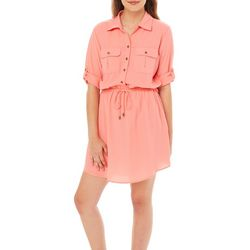 Be Bop Juniors Solid Roll Tab Blouson Dress