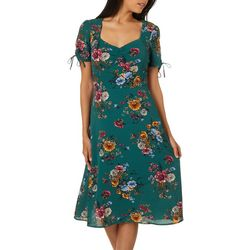 Juniors Floral Print Short Sleeve Dress