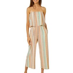 Be Bop Juniors Striped Popover Strapless Gaucho Jumpsuit