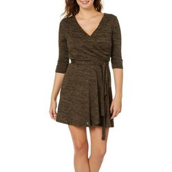 Be Bop Juniors Heathered Knit Faux-Wrap Dress