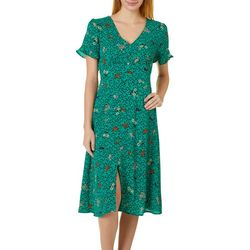 Be Bop Juniors Short Sleeve Button Front Floral Midi Dress