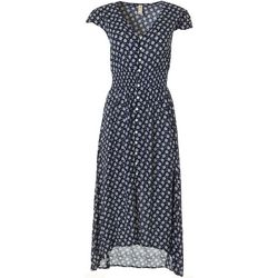 Juniors Polka Dot Button Down Short Sleeve Dress