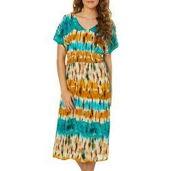 Be Bop Juniors Mixed Print Smocked Waist Short Sleeve Dress