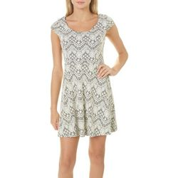 Grayson Juniors Lace Solid Panel Dress