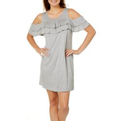 She & Sky Juniors Ruffled Cold Shoulder Sundress