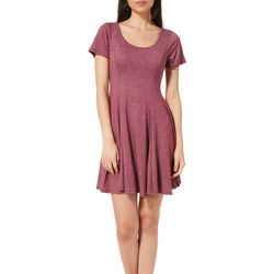 Acemi Juniors Heathered Open Back T-Shirt Dress