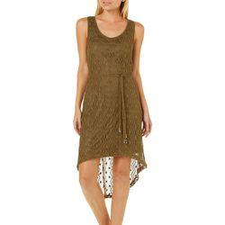 A3 Design Juniors Belted Crochet High-Low Dress