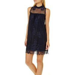 Grayson Juniors Lace High Neck Shift Dress