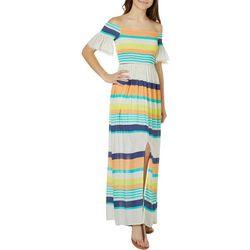 Skylar & Jade Juniors Striped Off The Shoulder Maxi Dress