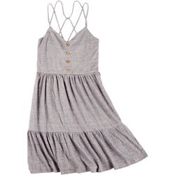 Juniors Strappy Button Front Dress