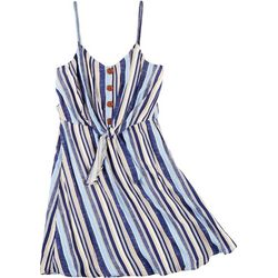 Juniors Stripe Button Front Dress