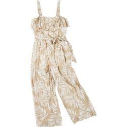 Juniors Strappy Palm Jumpsuit