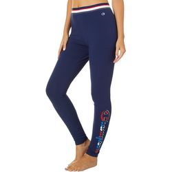 Champion Womens Authentic Logo Striped Waistband Leggings