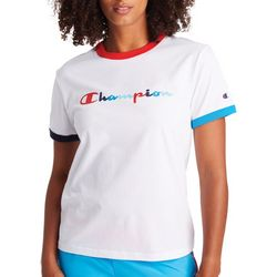 Champion Womens Classic Color Logo Ringer T-Shirt