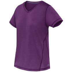 Champion Womens Jersey V-Neck Stripe Print T-Shirt