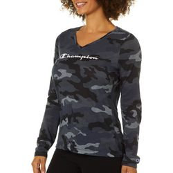 Champion Womens Authentic Wash Camo Long Sleeve Top