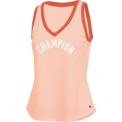 Champion Womens Heritage Ringer Logo V-Neck Tank Top