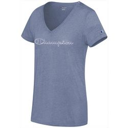 Champion Womens Authentic Logo Script V-Neck T-Shirt