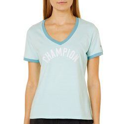 Champion Womens Heritage Ringer Logo Stripe Print Top