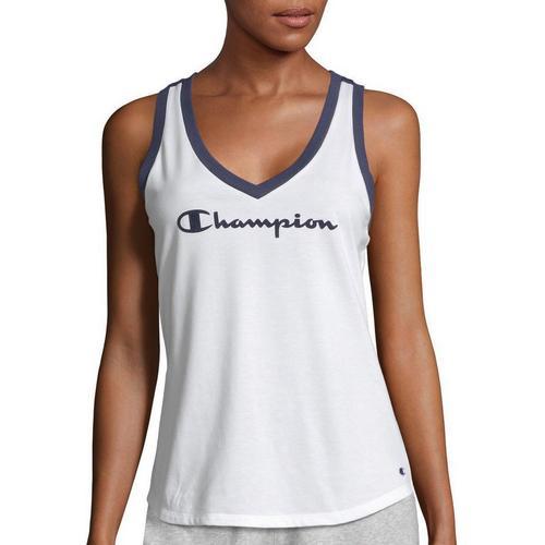 10102de5ad6f Champion Womens Heritage Ringer Solid Logo V-Neck Tank Top | Bealls Florida