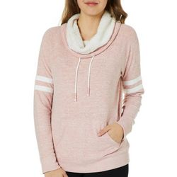 Inspired Hearts Juniors Fuzzy Drape Neck Sweatshirt