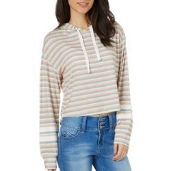 Inspired Hearts Juniors Stripe Hooded Long Sleeve Top