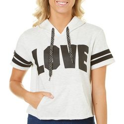 Inspired Hearts Juniors Love Short Sleeve Crop Sweatshirt