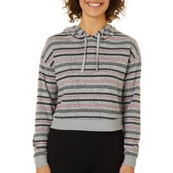 Inspired Hearts Juniors Cropped Striped Pullover Sweatshirt