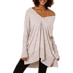 Miss Chievous Juniors Solid Heathered V-Neck Sweater