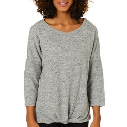 Miss Chievous Juniors Solid Heathered Twist Front Sweater