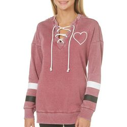 Miss Chievous Juniors Love Forever Lace-Up Sweatshirt