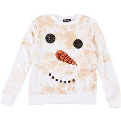 Miss Chievous Juniors Festive Snowman Sequin Sweater
