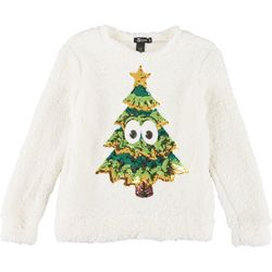 Miss Chievous Juniors Holiday Tree Sequin Sweater