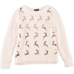 Miss Chievous Womens Holiday Reindeer Sequin Sweater