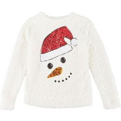Miss Chievous Womens Holiday Snowman Sequin Sweater