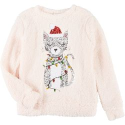 Miss Chievous Womens Holiday Cat Sequin Sweater