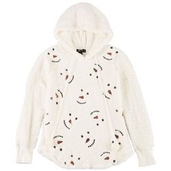 Miss Chievous Juniors Holiday Snowman Sequin Hoodie