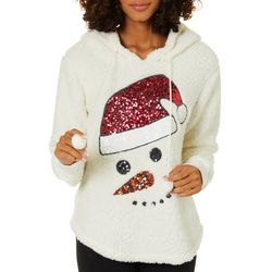Miss Chievous Juniors Embellished Snowman Faux Fur Sweater