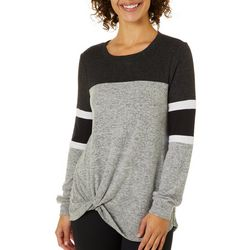 Miss Chievous Juniors Colorblock Heathered Twist Front Top