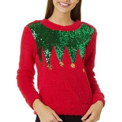 Miss Chievous Juniors Sequin Elf Textured Sweater