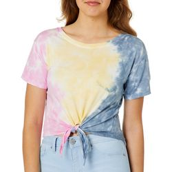 Exist Juniors Tie Dye Tie Front Cropped T-Shirt