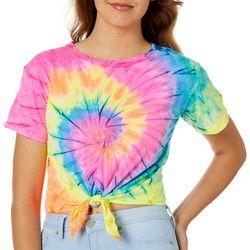 Exist Juniors Twist Tie Dye Tie Front Cropped T-Shirt