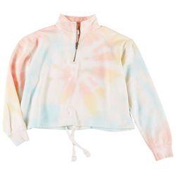 Juniors Long Sleeve Tie Dye Drawstring T-shirt