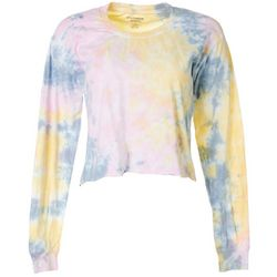 Juniors Long Sleeve Tie Dye Cropped T-Shirt