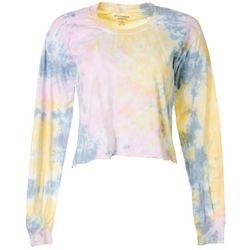 Juniors Long Sleeve Tie Dye Cropped T-Shirt