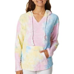 Exist Juniors Tie Dye Textured Hooded Sweatshirt
