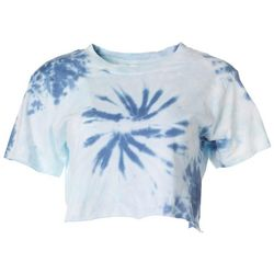Southern Spirit Juniors Blue Tie Dye Cropped T-Shirt