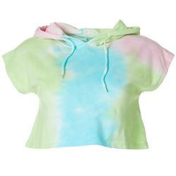 Juniors Tie Dye Multi Crop Hoodie Top
