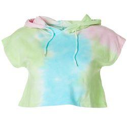 Juniors Tie Dye Multi Crop Hoodie Top